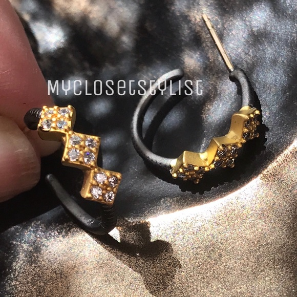 a1bc2fe489cec Frieda Rothman Gold Crystal Hoops Earrings NWT cz Boutique